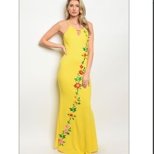 - - Yellow embroidery floral maxi dress